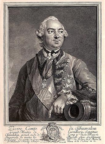 Петр Шувалов на гравюре 1760 г.