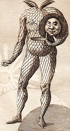 Изображение Мюнхгаузена из старого голландского издания (Амстердам, 1827)