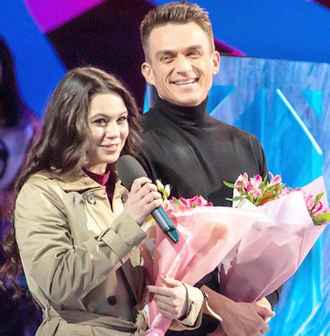 Елена Ильиных и Влад Топалов на проекте «Ледниковый период» (2020)