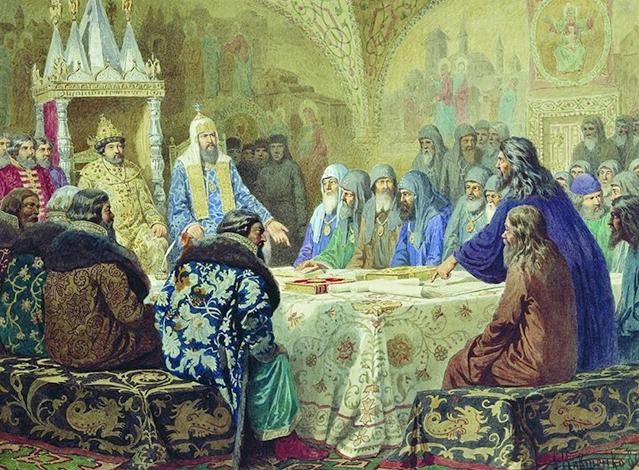 Церковный Собор 1654 г. Патриарх Никон показывает новые богослужебные тексты. худ. А. Д. Кившенко, 1880 г.