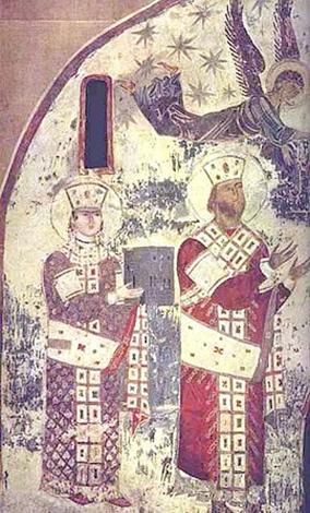 Тамара (слева) и Георгий III (справа). Самый ранний из сохранившихся портретов из церкви Успения Пресвятой Богородицы в Вардзии, ок. 1184–1186.
