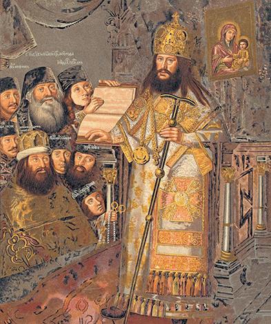 Патриарх Никон с клиром. худ. Д. Вухтерс, около 1660—1665 г.