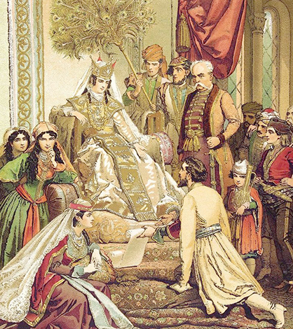 «Шота Руставели преподносит свою поэму царице Тамаре». Худ. Михай Зичи (1880)