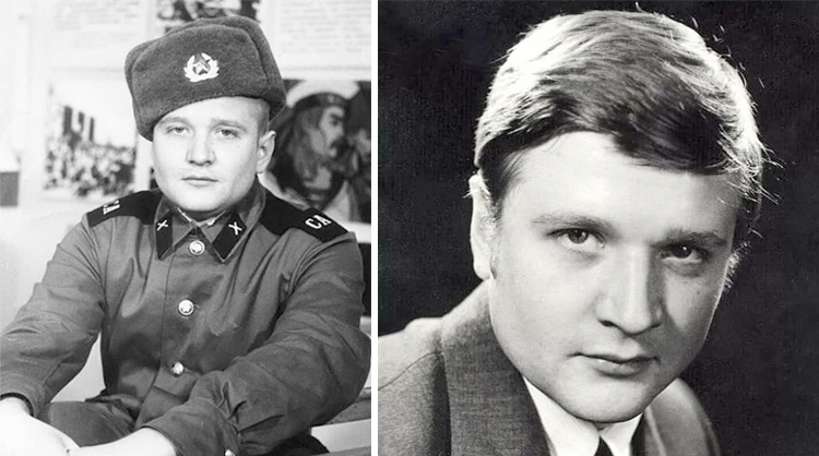 Роман Мадянов в молодости (слева в армии)